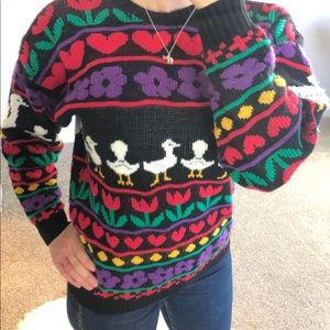Vintage Novelty Mother Goose Graphic Knit Sweater